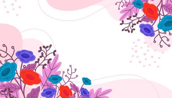 手绘风格花卉背景矢量素材(AI/EPS)