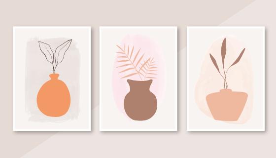 三张抽象植物封面矢量素材(AI/EPS)