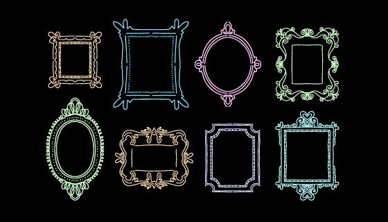 八个手绘画框/相框矢量素材(AI/EPS/PNG)