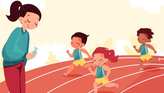 体育课上跑步的小朋友插画矢量素材(AI/EPS)