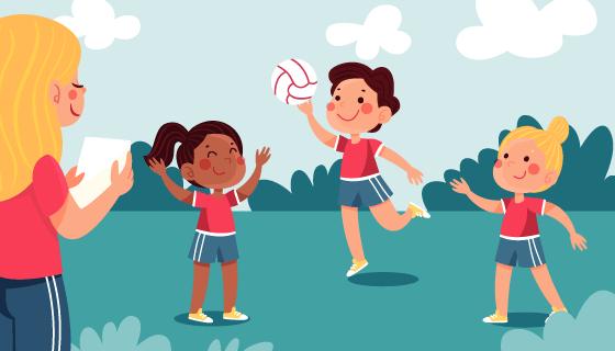 体育课上打球的小朋友插画矢量素材(AI/EPS)