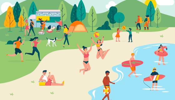 夏天户外活动的人们矢量素材(AI/EPS)