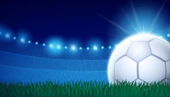 草地上发光的足球矢量素材(AI/EPS)