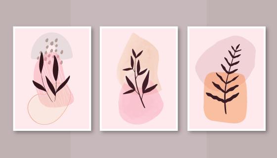 三张抽象植物设计的封面矢量素材(AI/EPS)