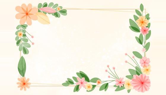 漂亮的水彩花卉边框矢量素材(AI/EPS)