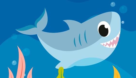 海底可爱的鲨鱼宝宝矢量素材(AI/EPS)
