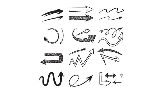 12个手绘风格的箭头矢量素材(EPS/PNG)