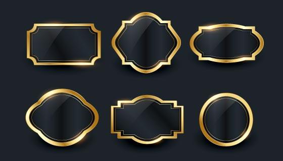 六个豪华的金色渐变边框矢量素材(AI/EPS)