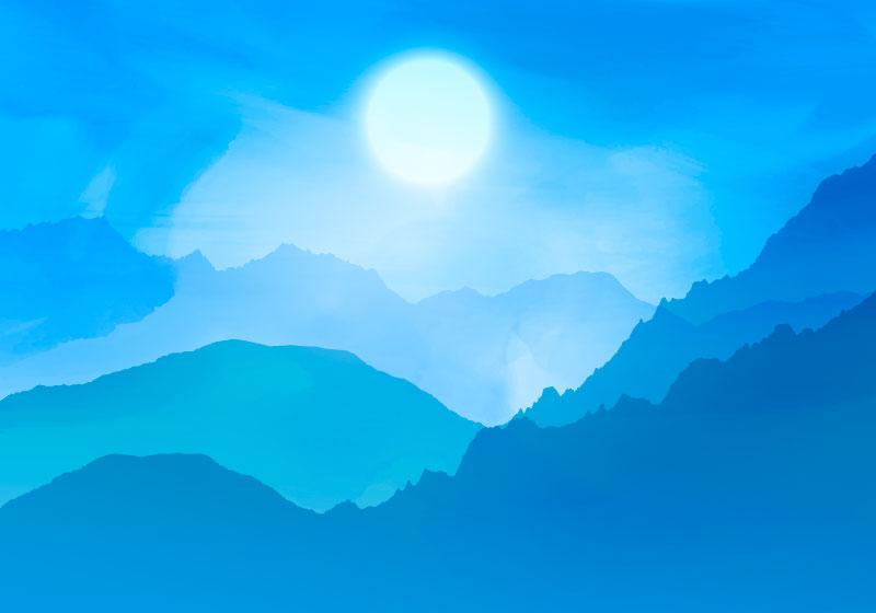 水彩风格山脉背景矢量素材(EPS)