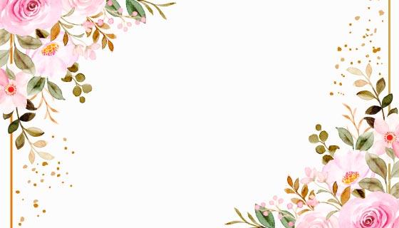 水彩花卉边框矢量素材(EPS)