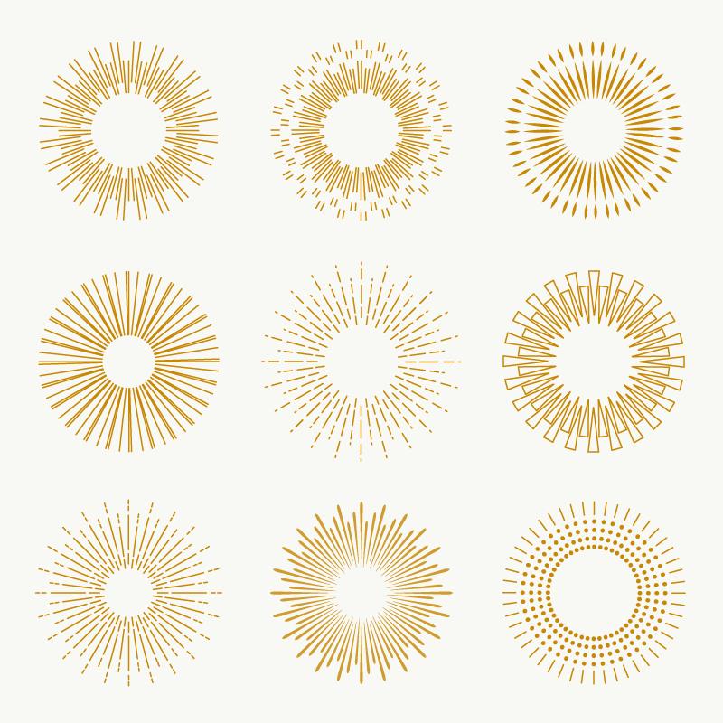 九个金色的太阳光芒矢量素材(AI/EPS/免扣PNG)