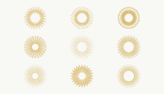 九个金色的太阳光芒矢量素材(AI/EPS/PNG)