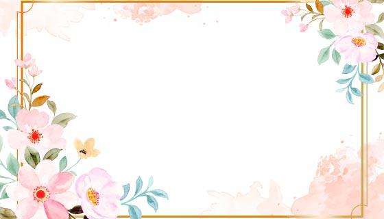 漂亮的水彩花卉边框矢量素材(EPS)
