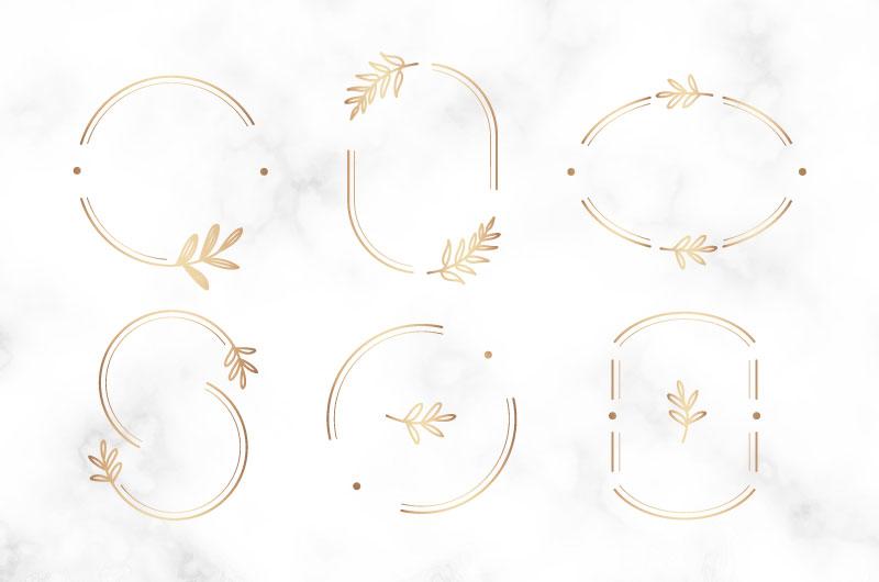 六个金色的植物边框矢量素材(EPS)