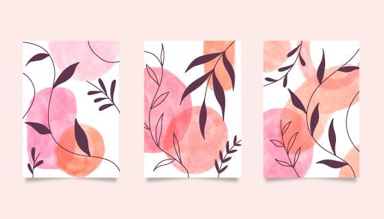 三张水彩风格的封面矢量素材(AI/EPS)