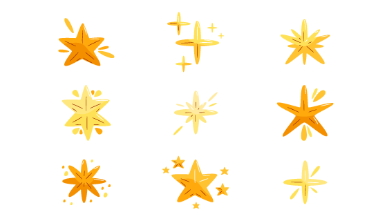 九个手绘风格的星星矢量素材(AI/EPS/PNG)