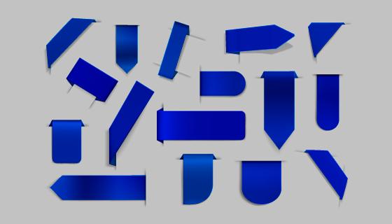 不同的蓝色丝带/角标矢量素材(AI/EPS)