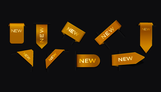 九个金色的new标签/角标矢量素材(AI/EPS)
