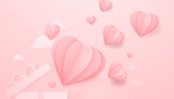 粉色折纸爱心设计情人节背景矢量素材(EPS)