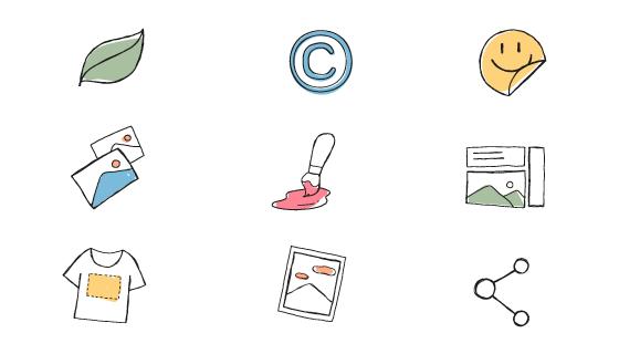 九个涂鸦风格的商业图标矢量素材(EPS)