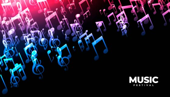 渐变的音乐符号背景矢量素材(EPS)