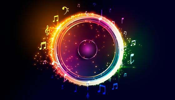 多彩闪亮的音箱/扬声器矢量素材(EPS)