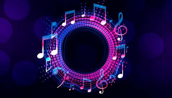 多彩音符设计的音乐背景矢量素材(EPS)