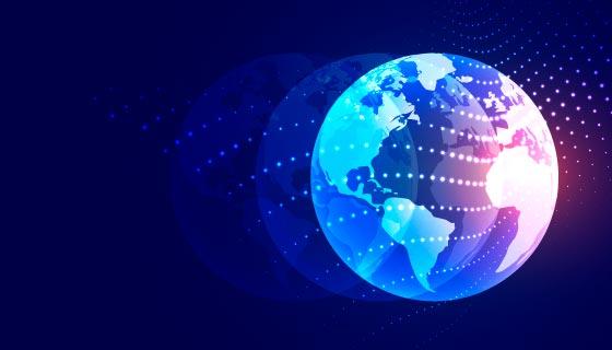 光粒子照亮地球矢量素材(EPS)