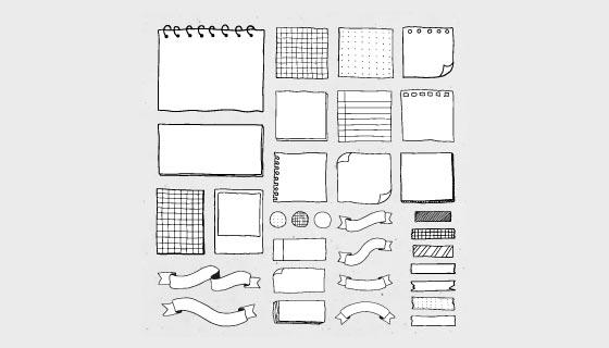 手绘黑白风格空白便签/纸条矢量素材(EPS/PNG)