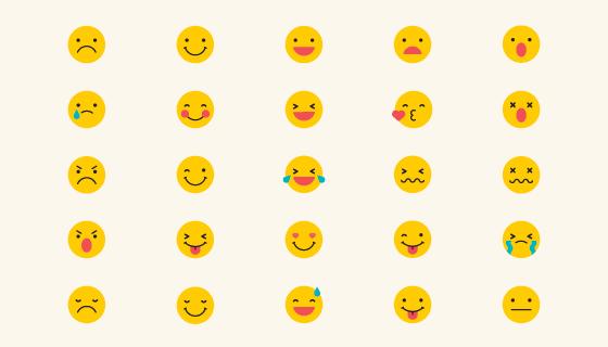 25个黄色可爱的表情矢量素材(EPS/PNG)
