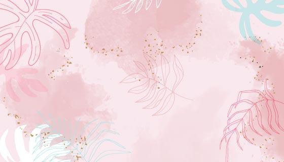 粉色水彩叶子背景矢量素材(EPS)