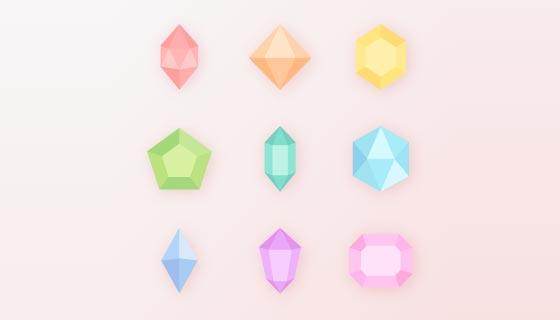 九个不同颜色不同形状的宝石矢量素材(EPS/PNG)