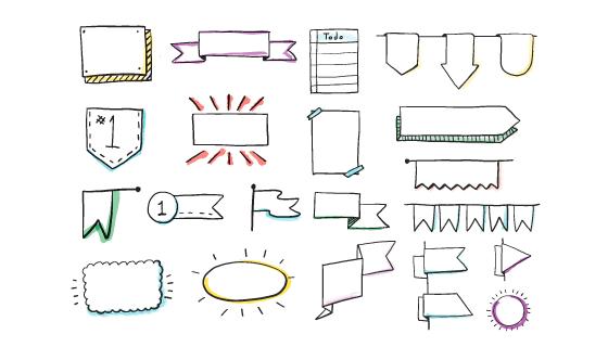 手绘涂鸦元素矢量素材(EPS/PNG)