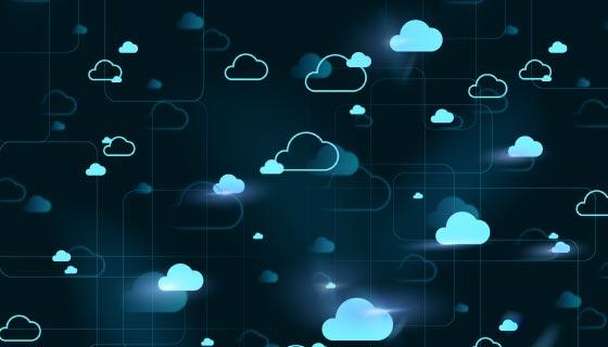 数字科技云背景矢量素材(EPS)