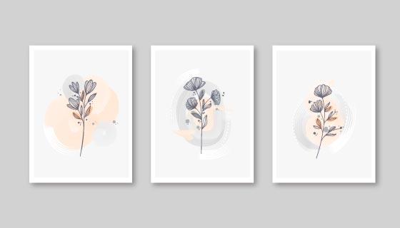 三张水彩风格的植物封面矢量素材(AI/EPS)