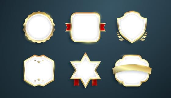 六个渐变金色豪华徽章矢量素材(AI/EPS)