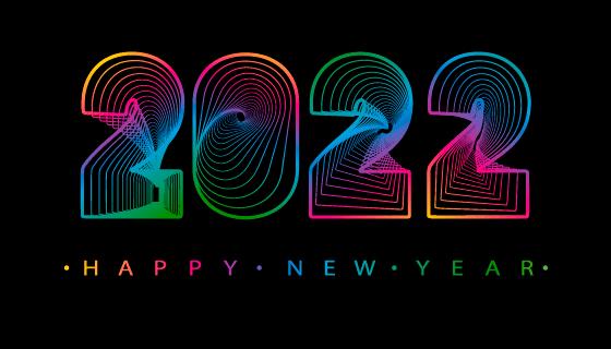 抽象数字设计2022新年快乐矢量素材(EPS)