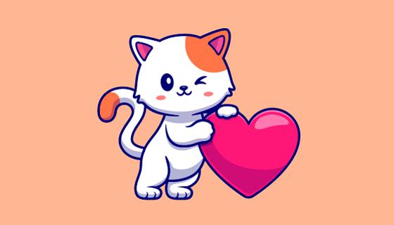 倚靠着爱心的可爱猫咪矢量素材(EPS/PNG)