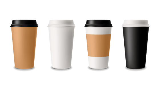 四个逼真的咖啡纸杯矢量素材(EPS/PNG)