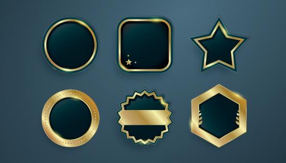 六个金色渐变的豪华徽章矢量素材(AI/EPS/PNG)