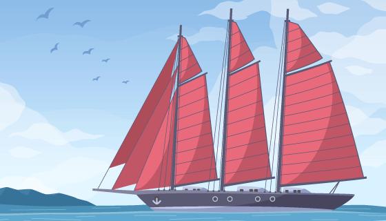在海上航行的巨大帆船矢量素材(EPS)