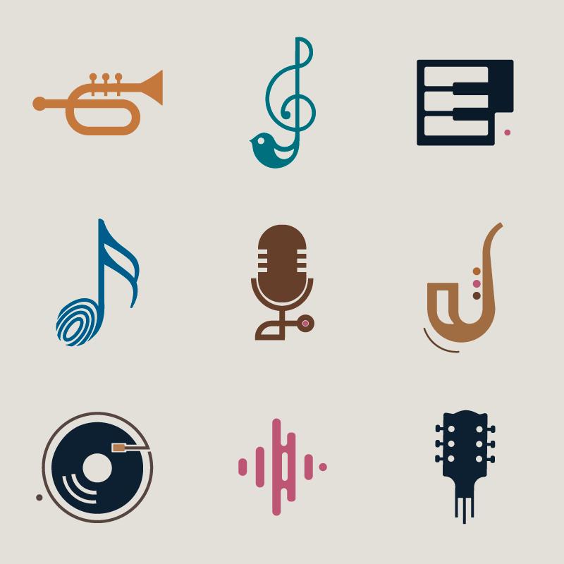 扁平风格的音乐类图标矢量素材(EPS/免扣PNG)