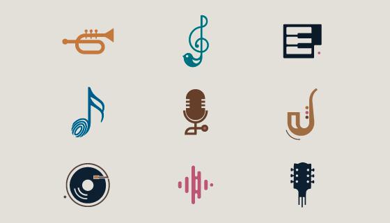 扁平风格的音乐类图标矢量素材(EPS/PNG)
