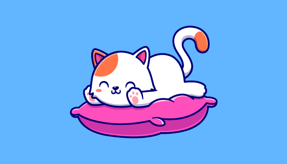 趴在枕头上的可爱猫咪矢量素材(EPS)