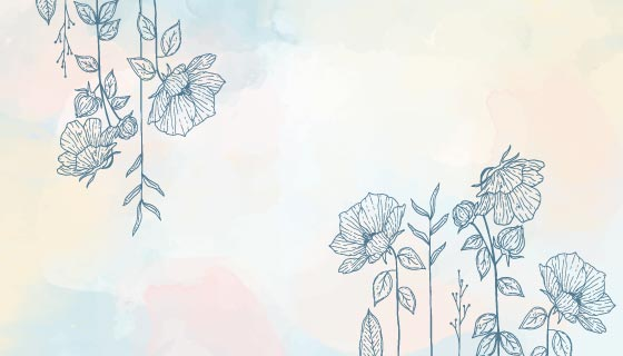 手绘水彩花卉背景矢量素材(AI/EPS)