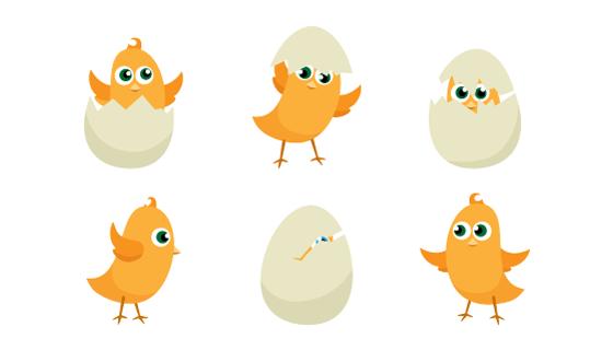 破壳而出的小鸡矢量素材(EPS/PNG)