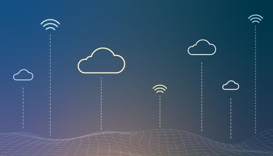 Wifi和云服务科技背景矢量素材(EPS)