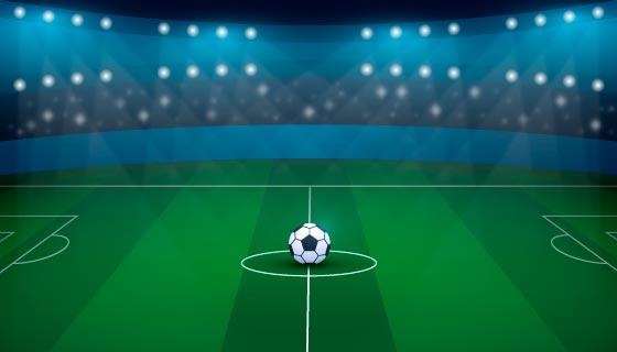 灯光照射的绿色足球场矢量素材(AI/EPS)