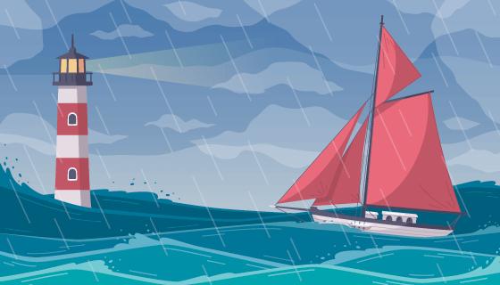 暴雨中行驶的帆船矢量素材(EPS)