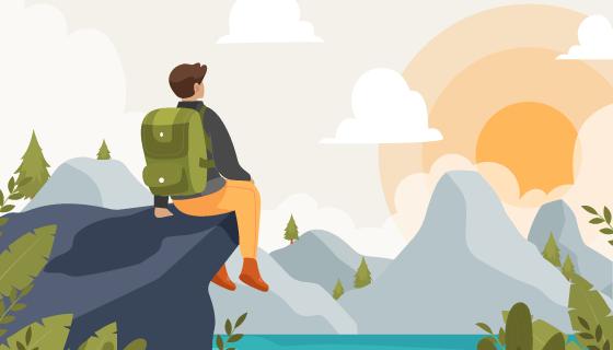 坐在悬崖边上看日出日落的登山者矢量素材(AI/EPS)